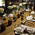 Table bois et blanc