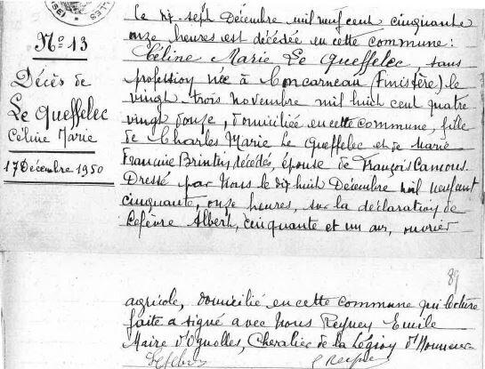 1950 le 17 décembre décès de Céline Le Queffellec à Ognolles Oise