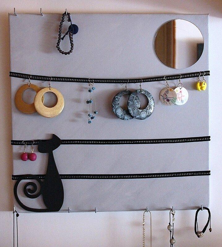 Diy tableau boite bijoux l 39 atelier de viliv - Accrocher toile au mur ...