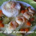 Filets de sole aux crevettes sauce curry