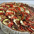Tarte fine tomate, courgette, feta et échalote