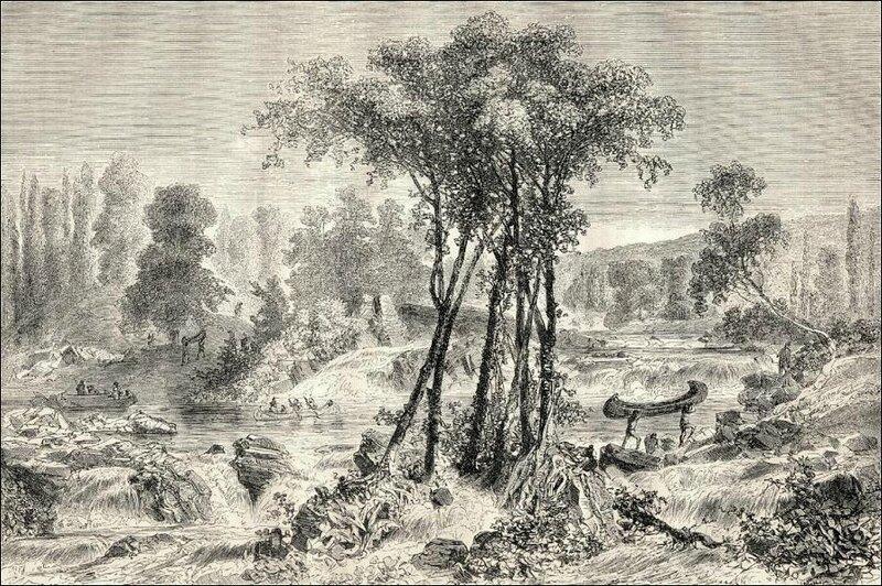 Gravure 1860 canoë portageweb