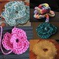 mes fleurs au crochet...aussi à troquer!...
