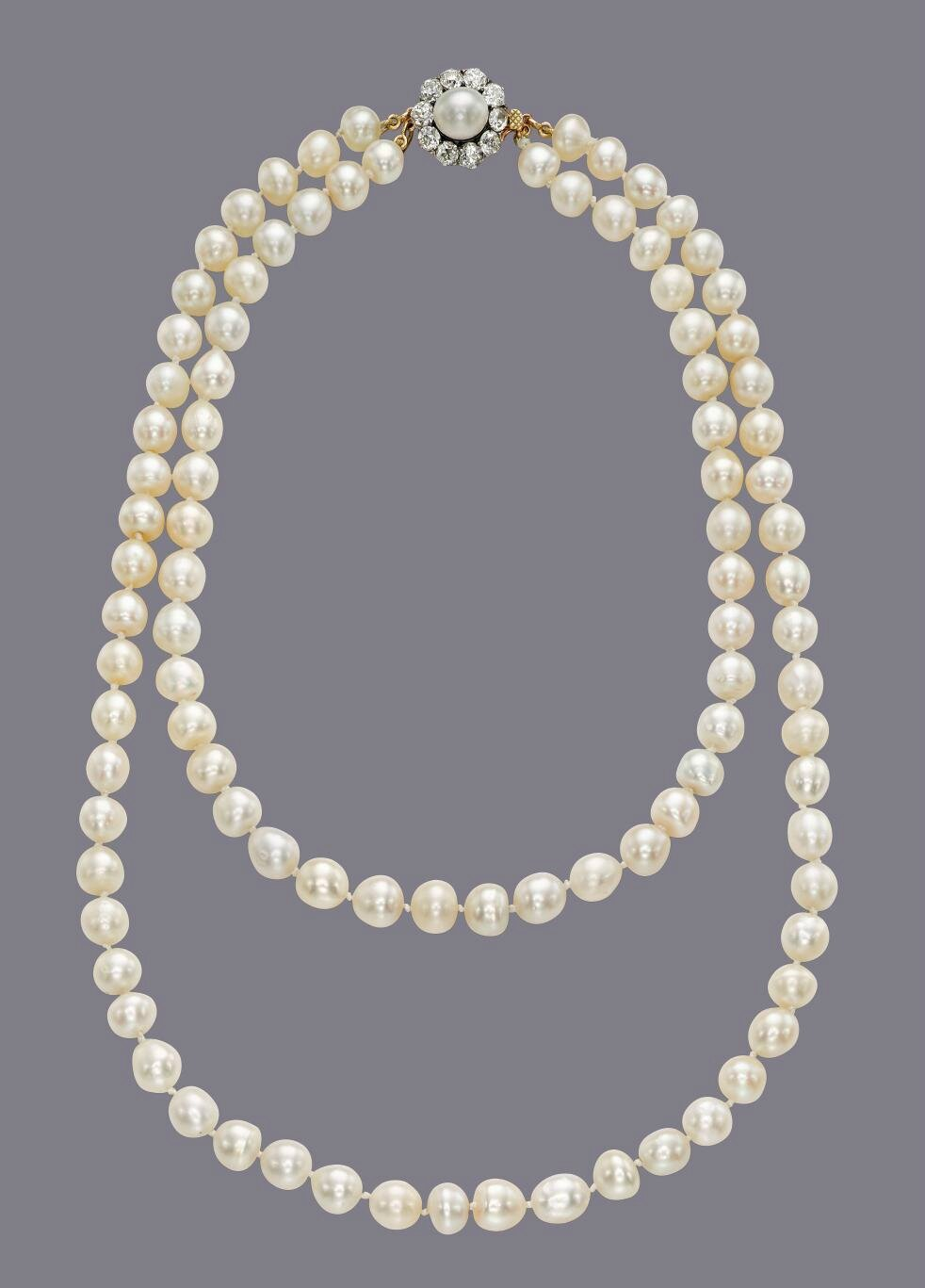 A Royal Natural Pearl Necklace A 19th Century Two Strand
