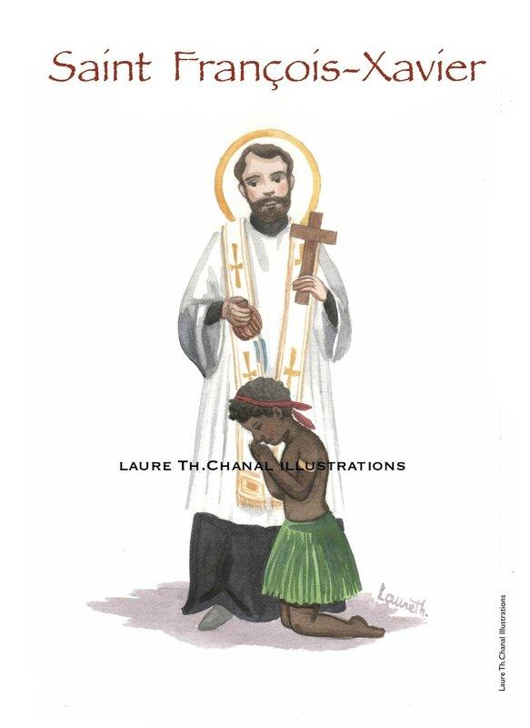 Aquarelle de saint François-Xavier, jésuite missionnaire