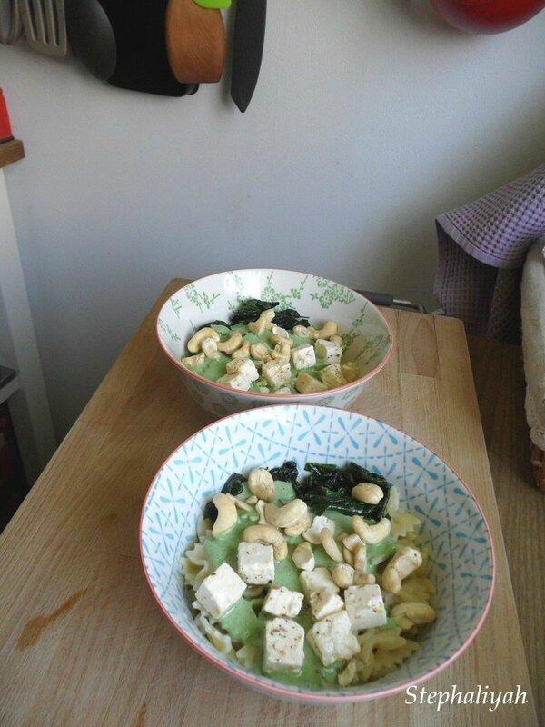 Pâtes aux épinards, noix de cajou - 2