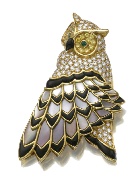 diamond onyx mother of pearl gold own bird wing brooch tiffany & co