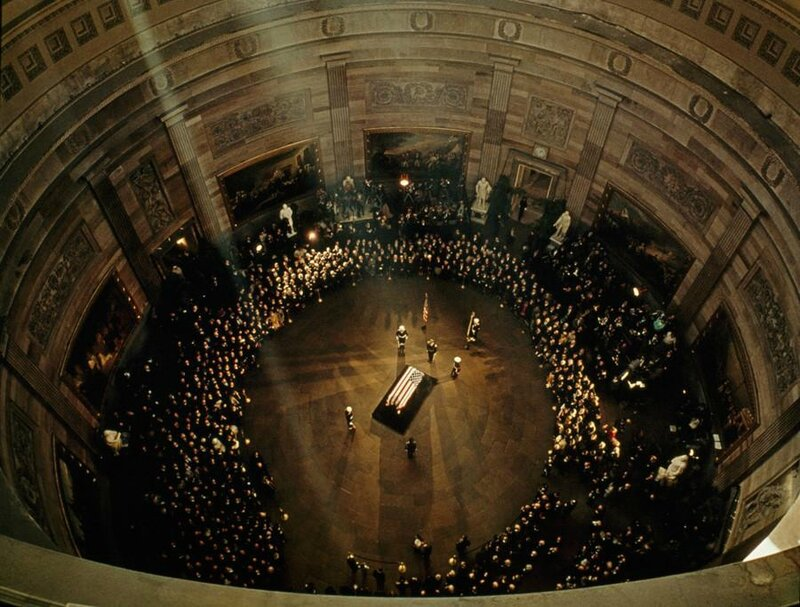 John F Kennedy's coffin lies in state in the Capitol Building