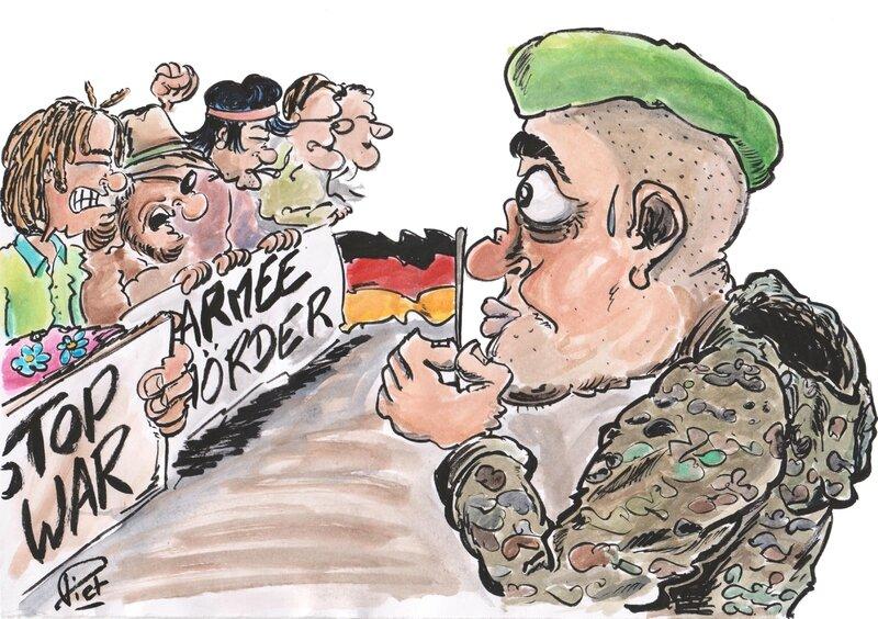 Hippies gegen Soldat