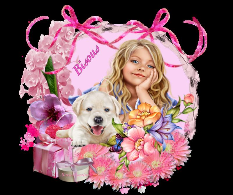 chien ds fleurs