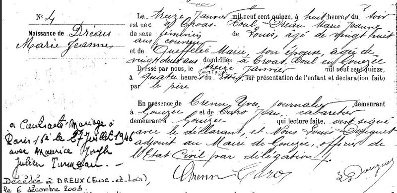 1915 N à Gouezec Marie Jeanne Dreau