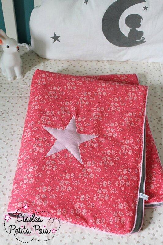 couverture bébé liberty corail et etoile2