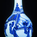A Chinese porcelain blue and white bottle vase, four character mark of Chenghua. Kangxi 1662-1722. 