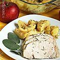 Rôti de porc au miel et aux pommes