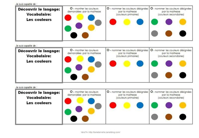 Brevet vocabulaire couleurs des id es des infos pour enseigner en maternelle - Langage des couleurs ...