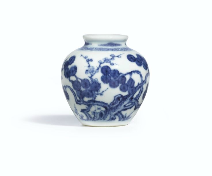 A fine blue and white 'Three Friends of Winter' jarlet, Mark and period of Yongzheng