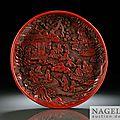 A fine circular carved cinnabar lacquer (tihong) dish, china, yuan-early ming dynasty