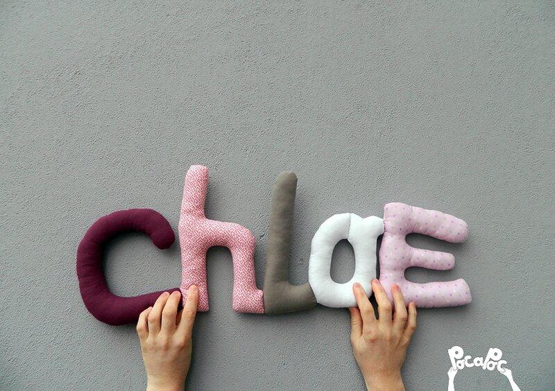 chloe mot en tissu,mot decoratif,cadeau de naissance,decoration chambre d'enfant,cadeau personnalise,cadeau original,poc a poc blog