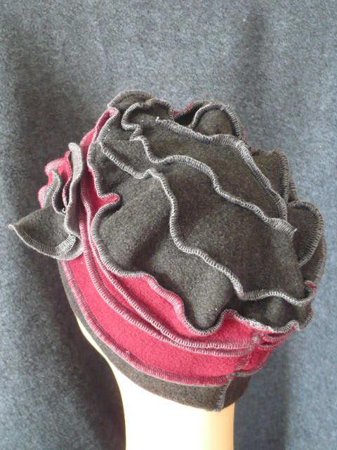 Toque gris bordeaux fleur (1)