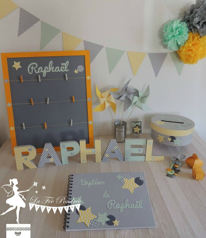 bapteme theme etoile decoration baby shower pele mele lettre decoree fanion pompon urne livre or jaune mint gris moulin