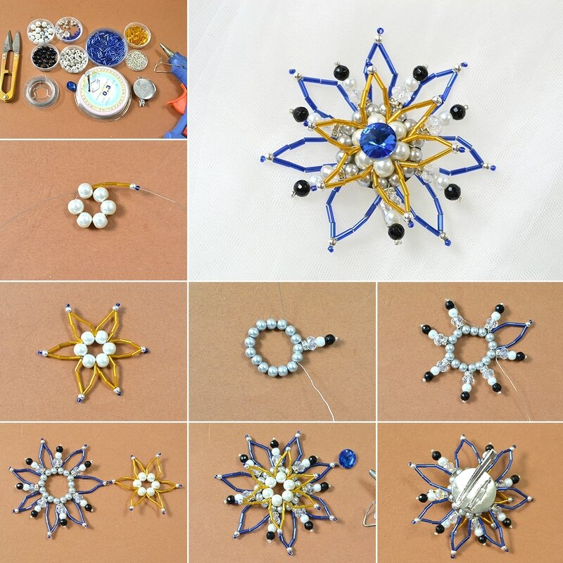1080-How-to-Make-a-Charming-Blue-and-Yellow-Beaded-Flower-Brooch
