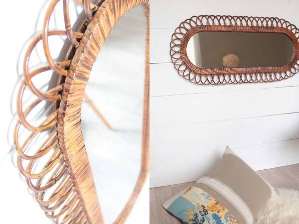grand miroir vintage ovale en rotin Trendy Little 5