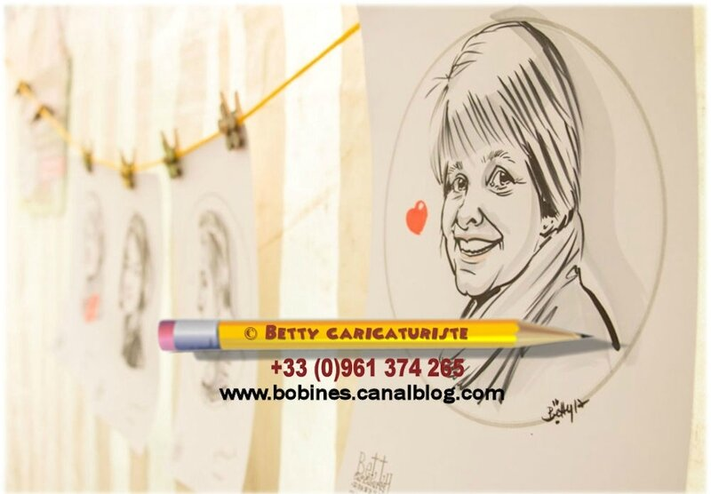 caricature portrait evenementiel gala dessin blonde