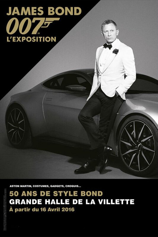 Billboard for the James Bond exhibition in Paris. Opened from April 16th up to September 6th 2016. Source: melty.fr
