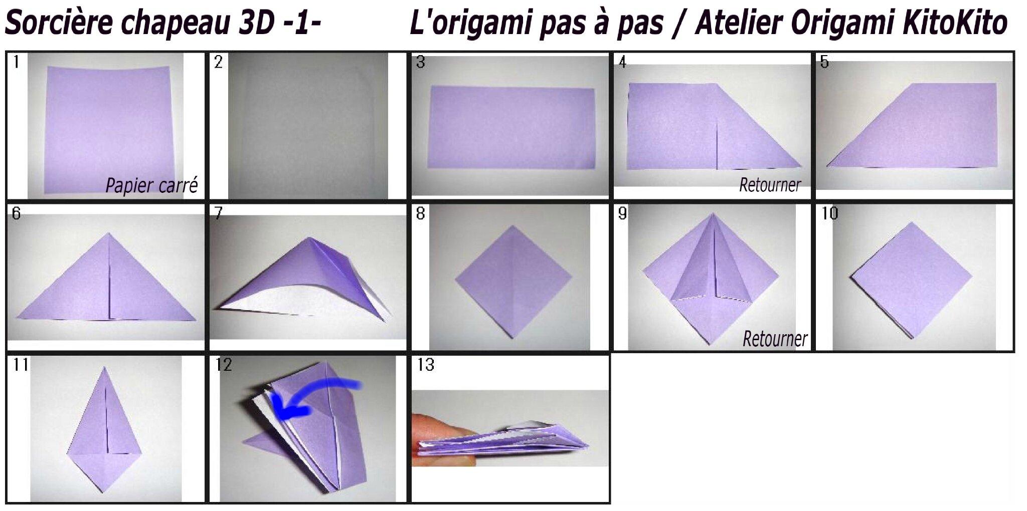 """Très Sorcière chapeau 3D -1- pour """"Halloween"""" - L'origami pas à pas  UI03"""