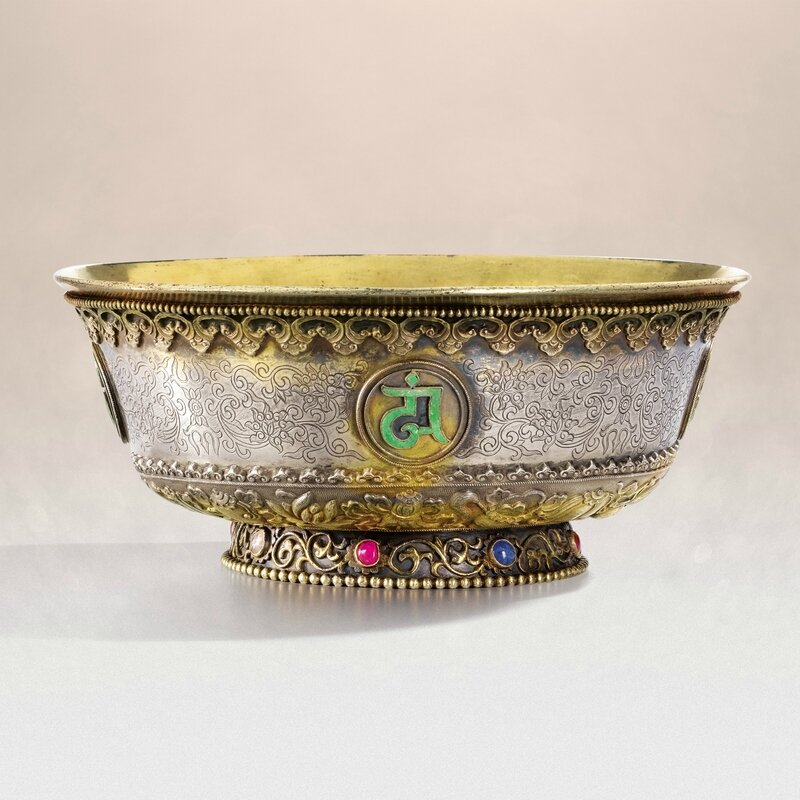 A rare Imperial parcel-gilt and embellished silver bowl, six-character Jiaqing seal mark and period