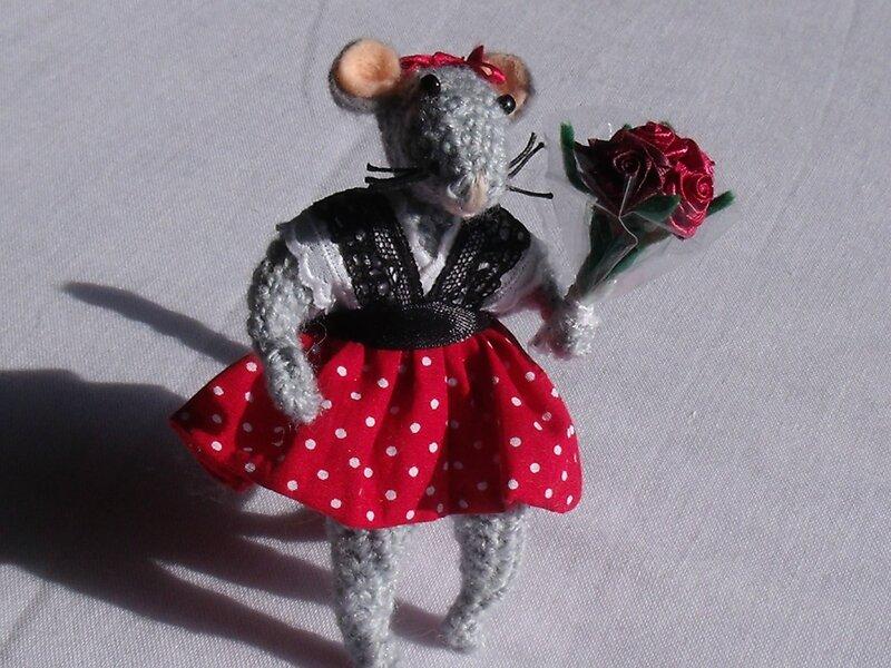 souris bouquet de fleur 1