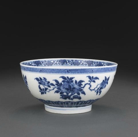 A blue and white deep bowl with sanduo decoration, 18th century