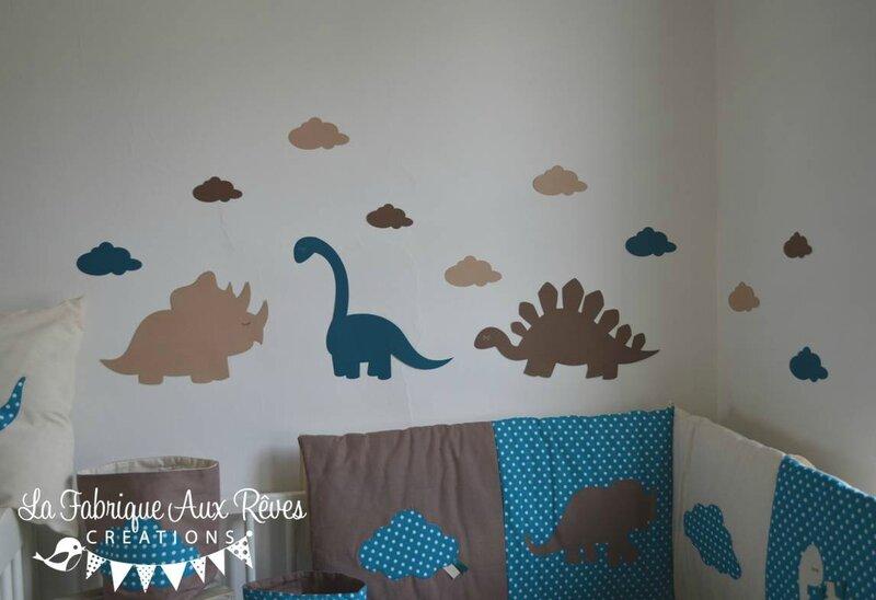 stickers dinosaure pétrole canard beige camel - décoration chambre bébé dinosaure pétrole canard camel marron beige 2