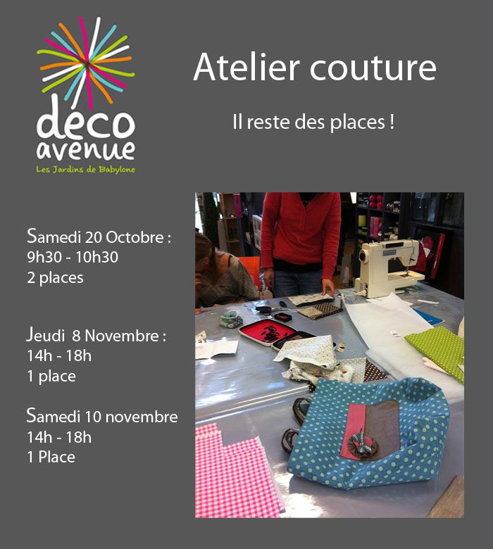 Il reste des places decoavenue le blog for Atelier couture a nantes