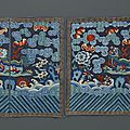 A pair of embroidered silk military rank badges, 19th century