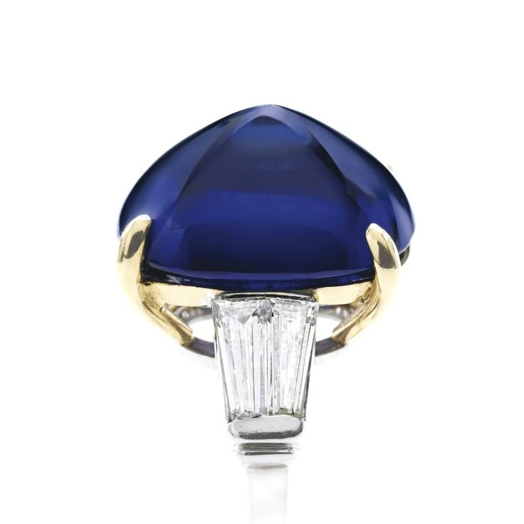 Important Platinum, 18 Karat Gold, Sapphire and Diamond Ring
