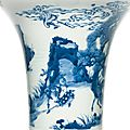 A blue and white 'deer' beaker vase, gu, qing dynasty, kangxi period (1662-1722)