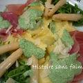 Raviolis aux asperges et crème de roquette