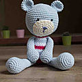 [marina-créations - boutique a little market] un ours doudou