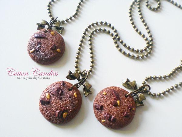 collier petit cookie chocolat ruban 03