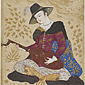 Young man in European dress playing on a lute, 1630s.Iran