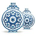 A rare pair of blue and white 'bajixiang' moonflasks. qianlong seal marks and period - sotheby's