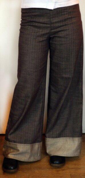 pantalon à gros revers