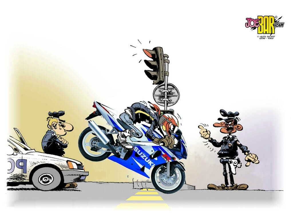 Joe bar team moto wallpaper jean raoul ducable en stoppie - Dessin humoristique motard ...
