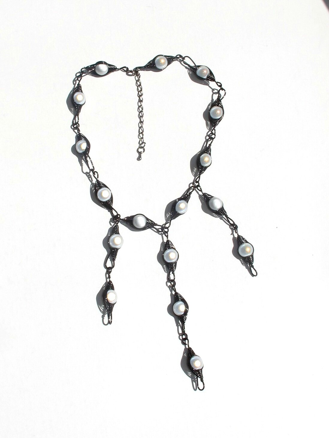 collier wire noir perles