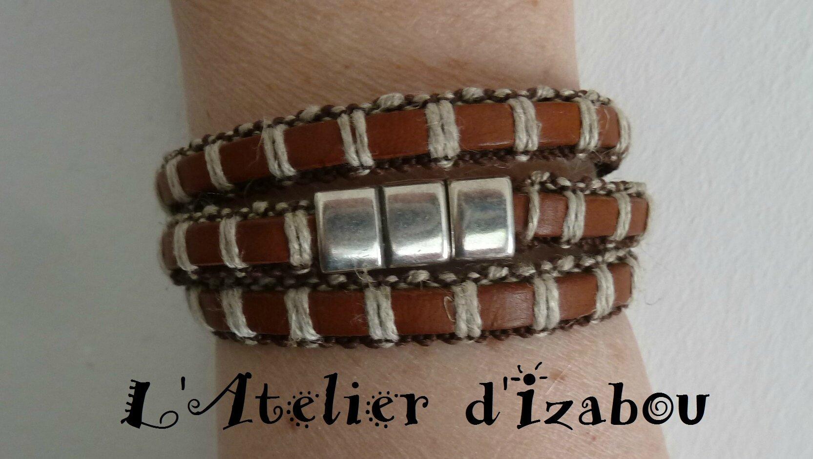 P1160878 Bracelet mixte homme,femme triple tour de poignet et fermoir  aimanté
