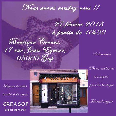 rendez-vous à la boutique Crocus le 27 févr
