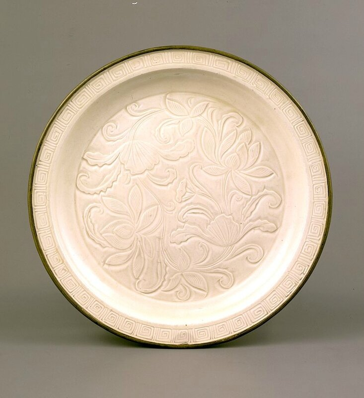 White porcelain dish with lotus flower design, Ding Ware, Northern Song Dynasty, 11th-12th century