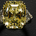 Impressive lady's yellow and white diamond dinner ring