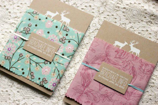 Rustic-Woodland-Fabric-Kraft-Paper-Wedding-Invitations2-550x366